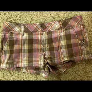 Aeropostale Brown & Purple Plaid Shorts